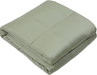 ZonLi Cooling Weighted Blanket (48''x72'', 15lbs for 120-180 lbs Individual, Spearmint) for Adults Women, Men, Youths | Natural Bamboo Material with Glass Beads