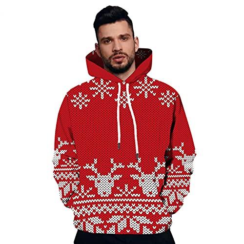 RYTEJFES Sudadera con capucha para hombre, diseño de Navidad, color rojo, talla grande, con capucha, para otoño e invierno, rojo, XXXL