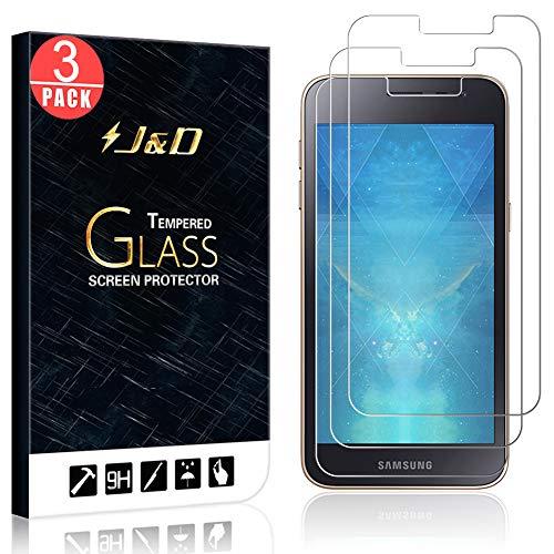 J&D 3 Paquetes Compatible para Galaxy J2 Core Protector de Pantalla, [Cristal Templado] [NO Cobertura Completa] HD Claro Vidrio Balístico Protector de Pantalla para Samsung Galaxy J2 Core