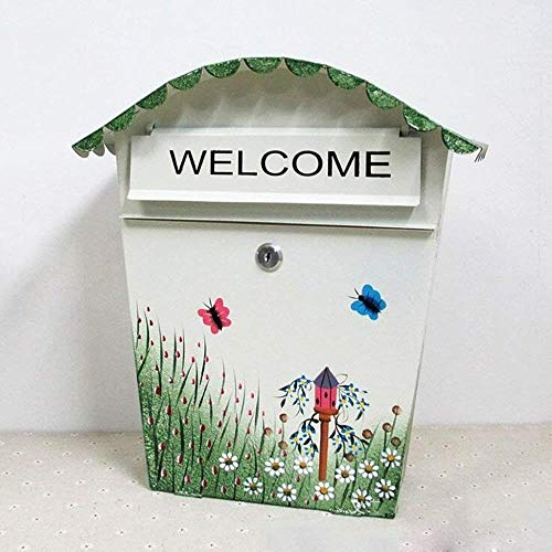 Brievenbus Vlinder Brievenbus Postbus Landelijk IJzeren Riem Lock Suggestion Box Outdoor Creatieve Muur Hangende Postbus Beveiliging mailbox