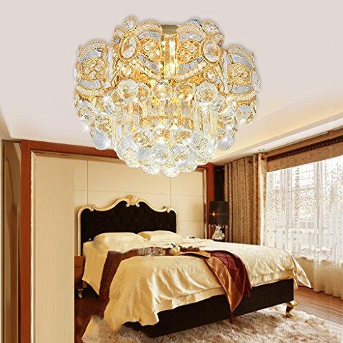 Peaceip Lampe de Plafond en Cristal Haut de Gamme de européen Lampes Rondes de Chambre à Coucher d'or (Couleur : Camaïeu, Taille : 40cm)