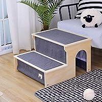 犬猫階段階段 - 取り外し可能なペットラダー、簡単に洗浄用木材とファブリックのコンビネーション