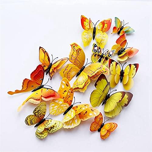 GHJGHJ 12 unids Multicolor Doble Capa WingsWall Pegatina Imán PVC Dormitorio Decoración de Nevera (Color : Yellow)