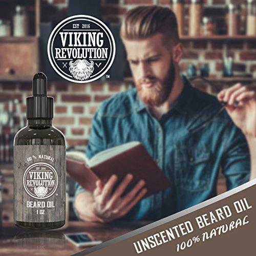 Viking Revolution Huile à Barbe- Huile d'argan et huile de Jojoba Naturelles, Non Parfumée....