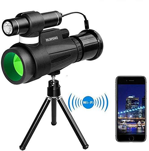 WYLDDP Telescopio monocular de visión Nocturna de HD 12x50 con WiFi Conectar con iOS y Android Smartphone App, para la observación de Aves Caza Que acampa Sightseeing