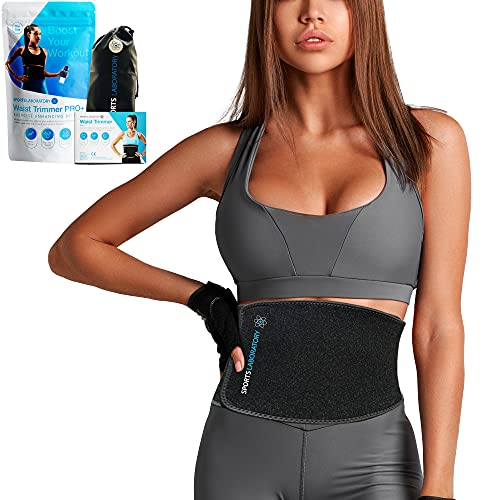 Sports Laboratory Pas do trenowania talii Pro + męski i damski, trymer do talii i pas potowy do utraty wagi, wyszczuplania ciała i podparcie pleców lędźwiowego, jeden rozmiar regulowany za pomocą darmowej torby i przewodnika