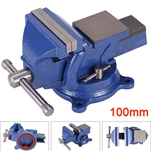 YORKING Parallel Schraubstock 100 mm Werkstatt Schraubstock für Werkbank Drehteller Drehbar mit Amboss Drehbar
