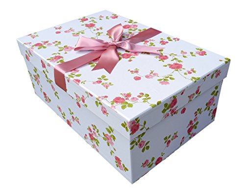 Extragroße Brautkleidbox X Large 'WILD ROSE' DESIGN (75 cm x 50 cm x 30 cm) zur Aufbewahrung von Hochzeitskleidern, zum Schutz, zur Konservierung, zur Verhinderung von Vergilbung, handgefertigt in Großbritannien vor pH-neutralem Material. Beinhaltet säurefreies Gewebe. Auf Lager – WILD ROSE
