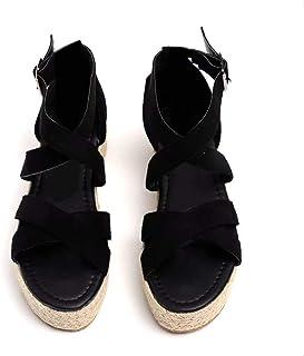 2d6ebdaf4c1 Sandalias Mujer con Cuña Plataforma Zapatillas de Playa Verano Zapatos de  Vestir con Hebillas Marrón Negro