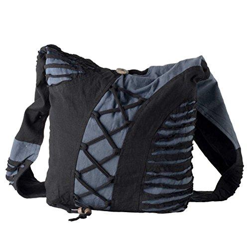 Vishes Alternative Bekleidung - Yogitasche aus Baumwolle mit Cutwork und Schnüren schwarz-grau
