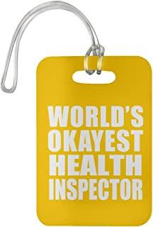 World's Okayest Health Inspector - Luggage Tag Bag-gage Suitcase Tag Durable - Friend Colleague Retirement Graduation Athletic Gold Birthday Anniversary Christmas Thanksgiving
