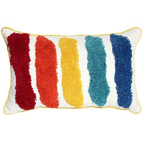 LKHTR Cushion Cover,Tassels Handmade Rainbow Pillow Cover for Home Decoration Sofa Bed 45x45cm/30x50cm