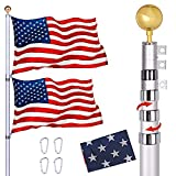 Telescoping Flag Poles Kit,30 FT Extra Thick Aluminum Telescopic Flagpole with 3x5 American Flag,Golden Ball,Outdoor Heavy Duty In Ground Flag Pole for Residential,Yard or Commercial (30FT)