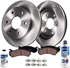 Detroit Axle - REAR Disc Rotors w/Ceramic Pads w/Hardware Brake Kit Cleaner Fluid - Cadillac Escalade ESV Chevy Tahoe Yukon Suburban 1500 Avalanche Silverado Sierra 1500 - READ FITMENT BEFORE ORDERING