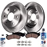 Detroit Axle - 6 LUG Front Rotors w/Ceramic Brake Pads w/Hardware Kit Cleaner & Fluid for 2010 2011 2012 2013 2014 2015 2016 20017 2018 Ford Expedition/F-150 / Lincoln Navigator