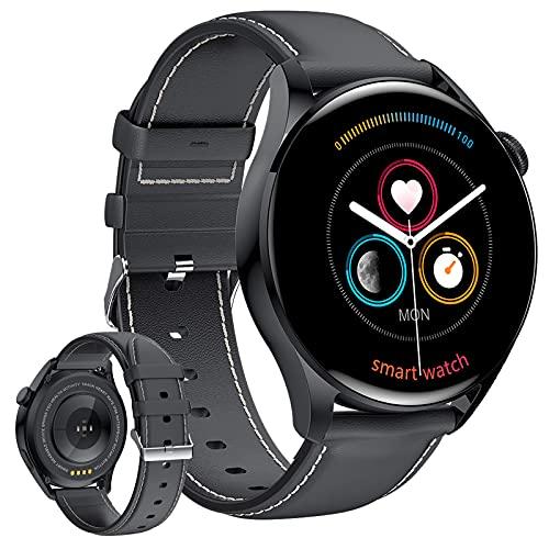 HQPCAHL Smartwatch Reloj Inteligente con Llamada Bluetooth/Pulsómetros/Monitor de Sueño, Multi Modos Deportivos, Fondo de Bricolaje, Pulsera Actividad Inteligente,Black Leather