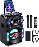 Euterpy Karaoke Machine for Adults, Portable PA System Bluetooth Speaker with 10'' Subwoofer, 2 Wireless Microphones+DJ Light+iPad Stand, for Home Karaoke Singing, Party, Meeting, Class and Church