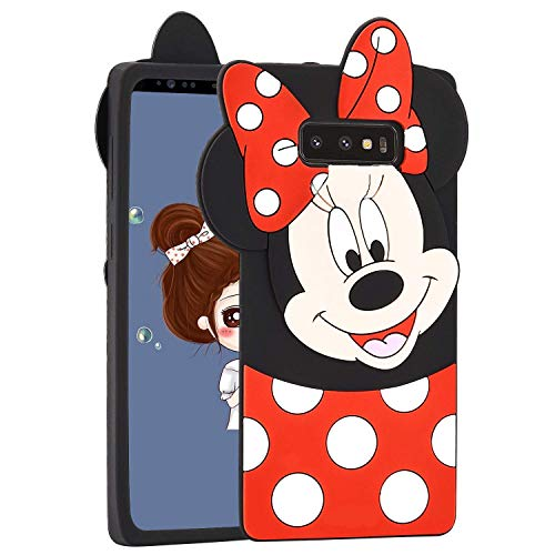 Allsky Case for Samsung Galaxy S10 Plus,Cartoon Soft Silicone Cute 3D Fun Cool Cover,Kawaii Unique Kids Girls Teens Animal Character Rubber Skin Shockproof Funny Cases for Galaxy S10 Plus Minnie Mouse