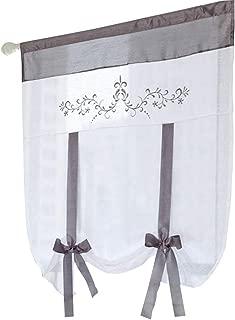 ZebraSmile Lifable Voile Floral Bowknot Ribbon Tie Up Roman Curtain Rod Pocket Curtain Balloon Curtain Semi Sheer Kitchen Balloon Window Curtain, Cartoon, 24 x 55 Inch, Gray