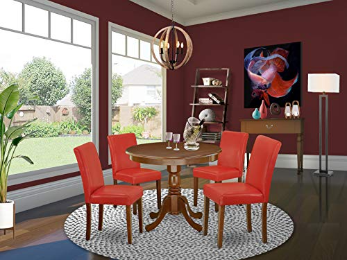 """East West Furniture 5Pc Round 36"""" Table And 4 Parson Chair With Mahogany Leg And Pu Leather Color Firebrick Red"""