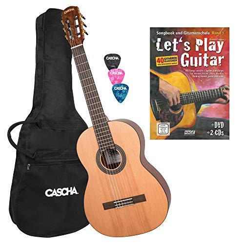CASCHA 4/4 Konzert-Gitarre Anfänger-Set I inkl. Let's Play Guitar Gitarren-Schule - Tasche - Plektra I für Anfänger & Kinder ab 10 J. - ideal zum Gitarre lernen I Akustik-Gitarre m. Nylon-Saiten