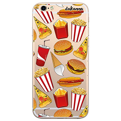 dakanna Funda para iPhone 6 Plus - 6S Plus | Hamburguesa, Refresco, Pizza y Palomitas | Carcasa de Gel Silicona Flexible | Fondo Transparente