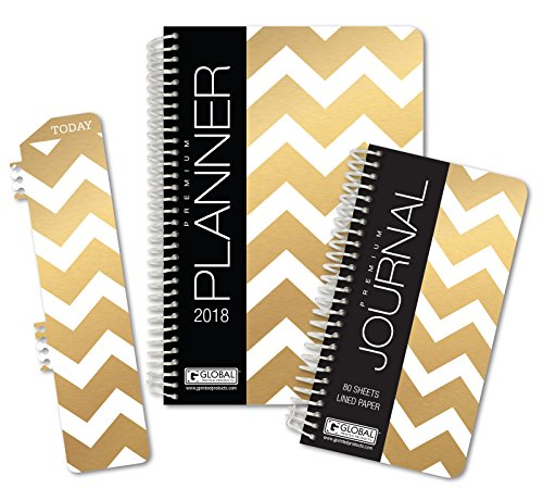 Best Planner 2018 Agenda for Productivity, Durability and Style. 5x8 Daily Planner/Weekly Planner/Monthly Planner/Yearly Agenda. HARDCOVER Organizer with Bookmark and Journal (Gold Chevron)