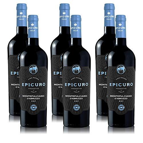 6 Flaschen Epicuro Rotwein Montepulciano d'Abruzzo, trocken, Weinpaket Italien (6 x 0,75 l)