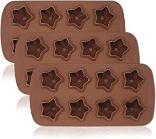 3 Packs Stars Shaped Ice Tray, SourceTon Flexible Ice Molds, Reusable Stars Shaped Candy Making Molds, Food Grade Molds for Chocolate Molds, Homemade Soap - Brown