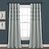 Lush Decor, Denim Blue Vintage Stripe Yarn Dyed Cotton Window Curtain Panel Pair, 84' x 40'