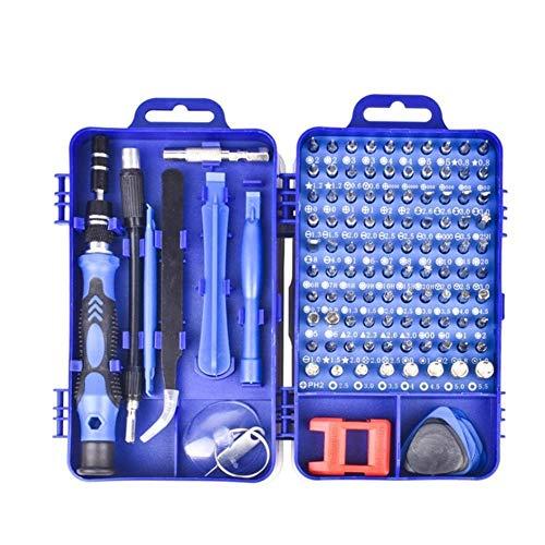 FAOAOTT Juego de Destornilladores de 115 Piezas Reloj teléfono móvil Desmontar Destornillador Kit de Herramientas de reparación electrónica Herramientas de Mano (Color: Azul)