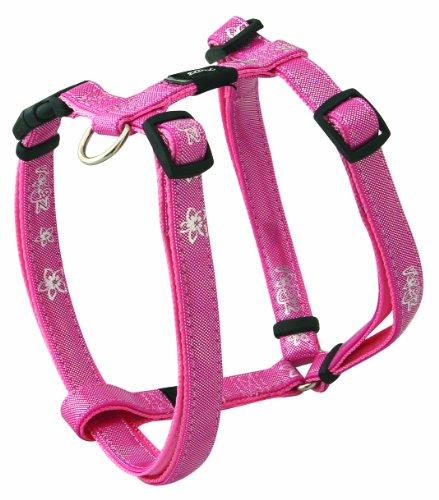 Rogz Pupz Zing Adjustable Zip Zap Zo Puppy H-Harness, Medium .625-Inches, Pink Bling Design