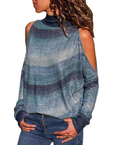 YOINS Cold Shoulder Turtleneck Top For Women Geometric Stripe Long Sleeves Casual Blouse Dark Green M
