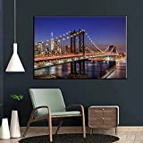 Avdgfr HD Art on Canvas Nature-[New York Manhattan Bridge at Night] Canvas Prints Personalised Photo-Art Print Images Realised as Wall Picture on Real 60X80cm Frameless