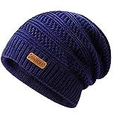 OMECHY Winter Knit Warm Hat for Mens & Women Stretch Plain Beanie Cuff Toboggan Cap Navy