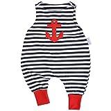 """Lilakind"""" Baby Jungen Mädchen Strampler Einteiler Strampelanzug Jersey Anker Streifen maritim Rot Blau Weiß Gr. 62/68 - Made in Germany"""