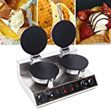 110V 1200W Electric Ice Cream Cone Waffle Machine Stainless Steel Non-Stick Commercial Cone Machine Ice Cream Roll Machine, Suitable for Restaurant, Bakery, Dessert House, Family