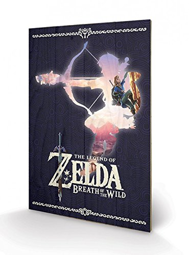 Preisvergleich Produktbild 1art1 The Legend of Zelda - Zelda Breath of The Wild Silhouette Poster Auf Holz 60 x 40 cm