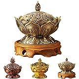caxmtu 1pieza Retro quemador de incienso soporte aleación de bronce budismo Auspicious adornos...