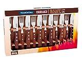 Tramontina Churrasco - Juego de cuchillos para carne, acero inoxidable, 12 piezas, juego de cuchillos y tenedores remachados | cuchillo serrado duradero | mango de madera | apto para lavavajillas