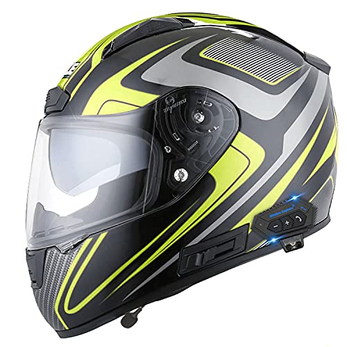 casco abatible para hombre y mujer con bluetooth, casco integral de moto con doble lente antivaho, certificado DOT / ECE, cascos de moto bluetooth integrados, intercomunicador por radio, casco de sco(