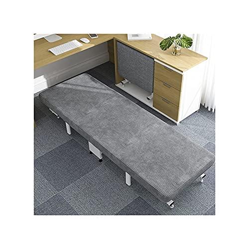 QIAOLI Cama plegable antideslizante con colchón y patas plegables automáticas, compacta, cama individual con ruedas para dormitorio y oficina (tamaño: 60 cm)