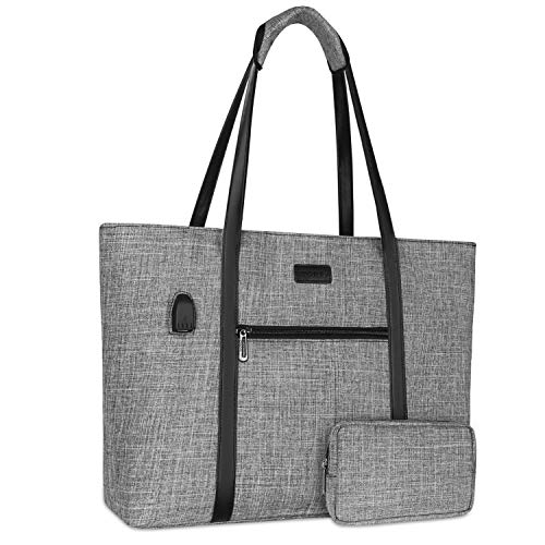 MOSISO USB Port Laptop Tote Bag for Women (17-17.3 inch), Lightweight Durable Organizer Work Office Business Handbag with Small Purse Compatible with MacBook & Notebook, Gray