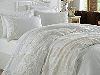 DANTELA Guipure Bride Set Queen Duvet Cover Set 7 Pieces Hotel Bedding Sets Comforter Cover with Soft Lightweight 100% Cotton 1 Duvet Cover, 1 Bed Sheet, 1 Pique and 4 Pillow Shams