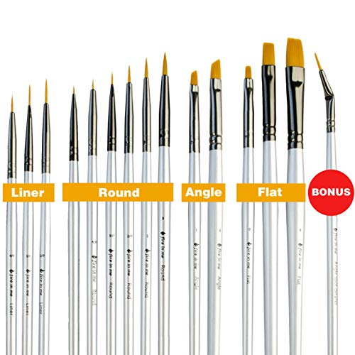 fire in me Best Small Miniature Paint Brushes - Detail Paint Brush Set of 14 pcs +1 Free, Tiny Model Paint Brush Set for Face Painting, Fine Detailing - Acrylic Watercolor Oil Paint Supplies