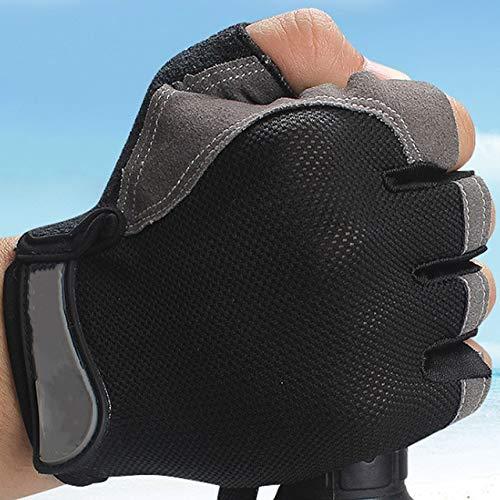 Lady Half Finger Gym Fingerlose Handschuhe Bodybuilding Frauen Männer Training Fitness - schwarzer normaler Typ, S.