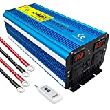 Cantonape Pure Sine Wave Power Inverter 4000W DC 12V to AC 240V converter with Wireless Remote, Dual UK Outlets & LCD display for RV Truck car home use
