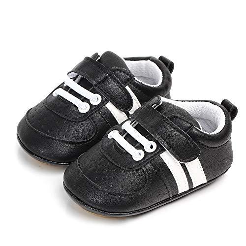 Ortego Unisex Baby Lauflernschuhe Jungen Mädchen Krabbelschuhe Kleinkind Rutschfesten Babyschuhe Lederpuschen Schwarz 6-12 Monate