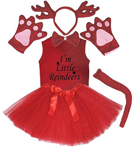 Petitebelle 3D Headband Bowtie Tail Gloves Shirt Skirt 6pc Girl Costume (3D Red Deer Reindeer, 4-5 Years)