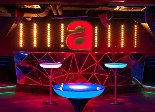 EEC A+, Moree Table de bar Lounge M 105 Indoor - Avec éclairage LED PRO, batterie et télécommande